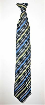 Colours by Alexander Julian Boys Clip-On Tie Striped Stripes Blue Green Black