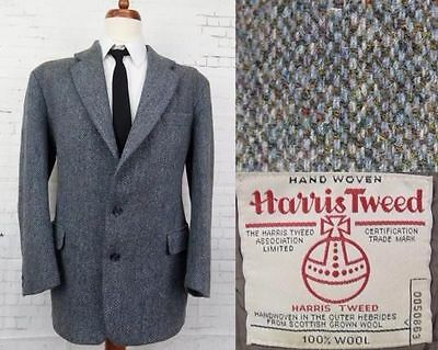 Vintage Multi Tone Blue Harris Tweed Jacket -42R- BY66