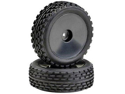 Absima 1:10 Off Road Front Wheel and Tyre Set (2) Black #2500011