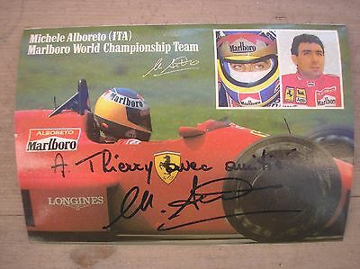 Michele Alboreto Ferrari Autografo Con Dedica Hand Signed Inscription Original