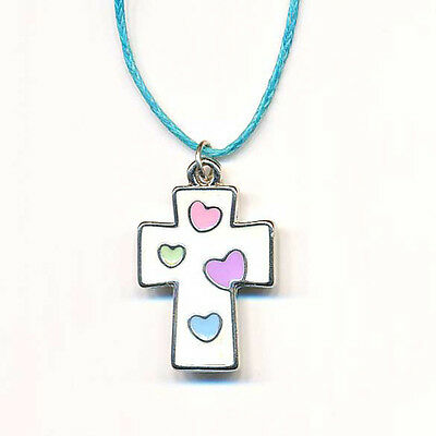 Kids' Cross Pendant, White with Colored Hearts