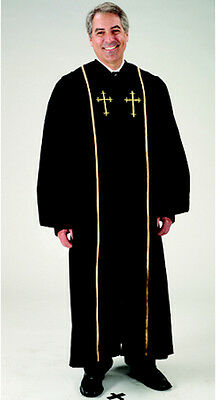 Black Pulpit Robe with Velvet & Gold Cross Embroidery (59)