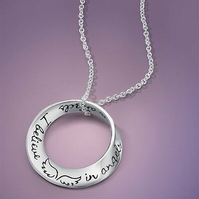 I Believe In Angels, Sterling Silver Mini Mobius  Necklace (<3/4> diameter)