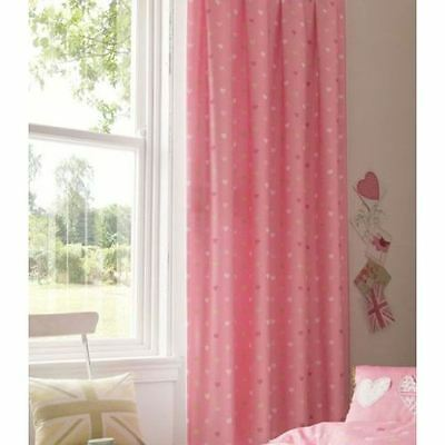 "Catherine Lansfield Vintage Britannia Pink Lined Tab Top Curtains 66"" x 72"""