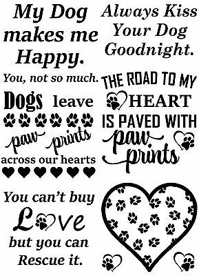 """Dogs Leave Paw Prints 5""""X7"""" Card Black Fused Glass Decals 17CC794"""