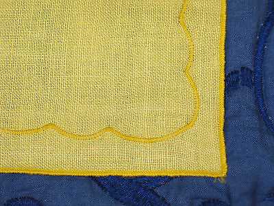 Stunning Antique Vintage Hand Embroidered Placemats~Yellow Linen~4