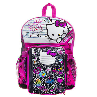 Hello Kitty Composition Backpack Set With Lunch Box School Girls Children Kids