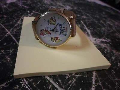 "Kellogg's Rice Krispies ""Snap Crackle Pop"" Collectible Watch 1990-Works Leather"