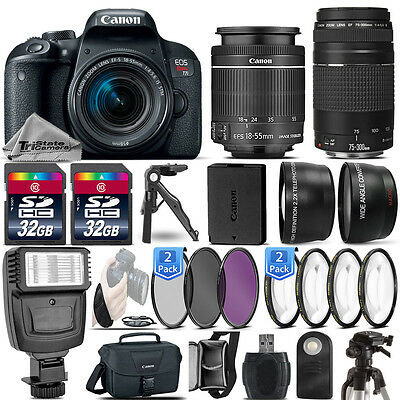 Canon EOS Rebel T7i / 800D DSLR Camera + 18-55mm IS STM + 75-300 III -64GB Kit