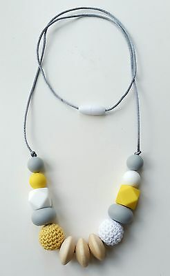 Silicone teething beads necklace baby gift sensory jewellery teether Eva yellow
