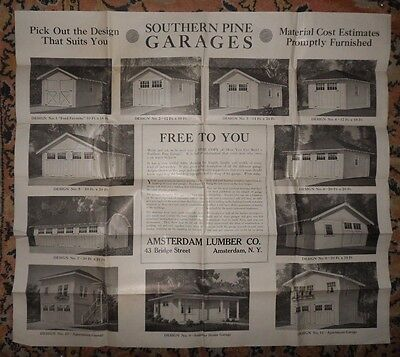 Rare  c1920s Southern Pine Association Garage Design Plan Poster AMSTERDAM NY