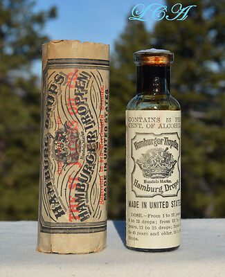 ORIGINAL antique HAMBURGER TROPFEN quack med BOTTLE labeled - embossed - WRAPPER