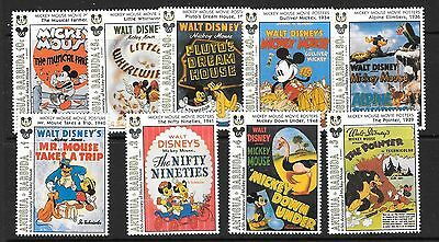 Antigua Sg1861/9 1993 Mickey Mouse Film Posters  Mnh