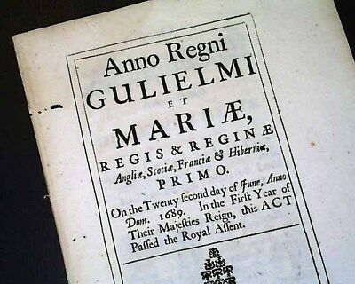 17th Century ACT OF PARLIAMENT Queen Mary Era 1689 London Document Publication