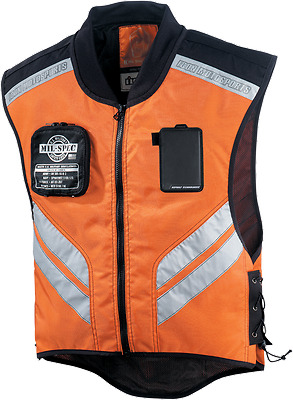 Icon Mens Orange Mil Spec Mesh Motorcycle Military Riding Reflective Vest Harley
