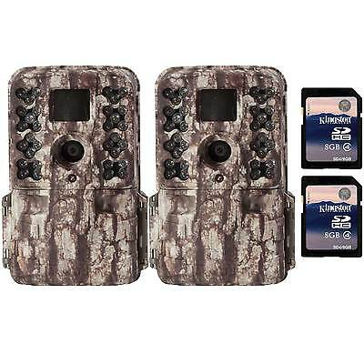 Moultrie M40 16MP 80' Video LowGlow IR Game Trail Cameras (2) + 8GB SD Cards (2)
