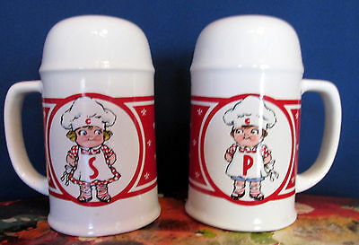 "Vintage Campbell's Soup Kids Red/White Salt & Pepper Shakers Set 5"" tall"