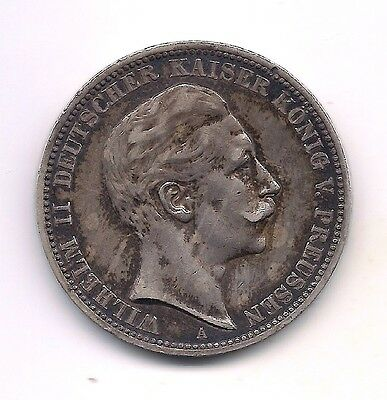 1909-A Germany Prussia Silver Three Marks--Fabulous Details!!