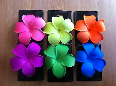 "NEW 6PCS HAWAII FLOWERS HAIR CLIPS PLUMRIA FOAM Bridal Wedding Party LARGE 4""!"