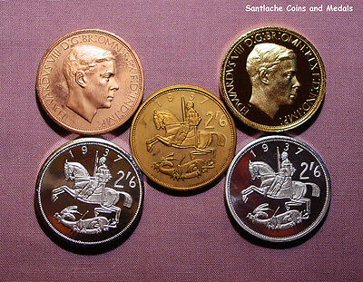 1937 KING EDWARD VIII PATTERN HALFCROWN - Five Different Metals - LOW MINTAGE