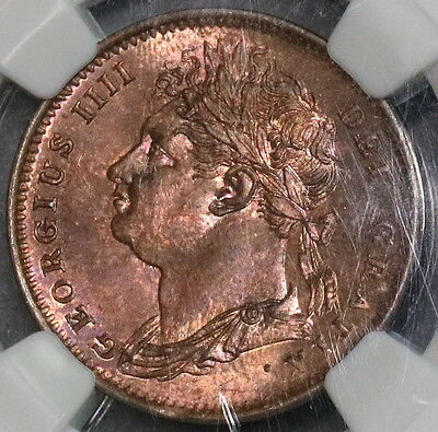 1825 NGC MS 64 RB Farthing George IV GREAT BRITAIN Coin (16100601C)