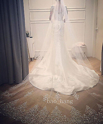 Bling Bling Wedding Veil Crystal Cathedral Applique Bridal Veil White Ivory Comb