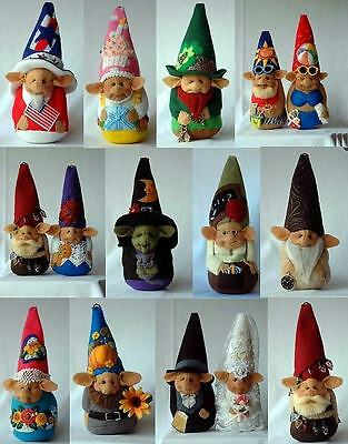 "*new* Cloth Art Doll (Paper) Pattern ""a Gnome For All Seasons"" By Shelley Hawkey"