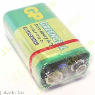 100 x GP GreenCell 9V Batteries MN1604 6LR61 PP3 BLOCK 6F22 EXTRA HEAVY DUTY
