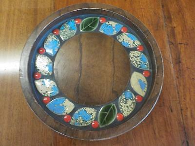 Vintage Lovely Turned Wooden Pot Stand / Tray With Enamel Leaves