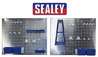 Sealey 34 Piece Metal Wall Storage Tool Pegboard Holder + Hooks & Boxes S01102
