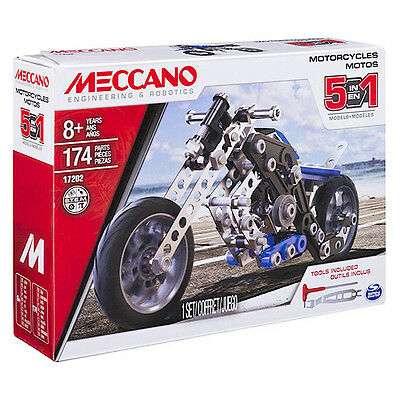 Meccano Real Metal 5 Model set Motorcycles Construction Set - 174 piece NEW 2017