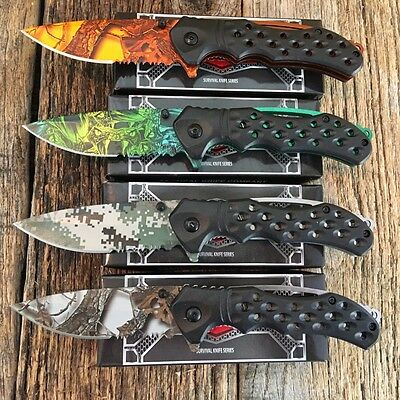 "4 PC Set RAZOR TACTICAL Assorted 8"" Spring Assisted Open Rescue Pocket Knife"