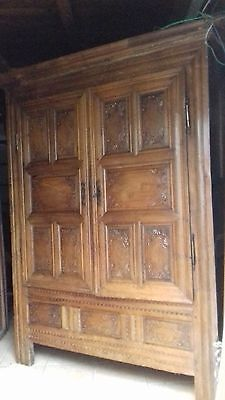 Ancient 18Thc French Heavy Antique Oak Cupboard From Brest France