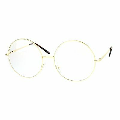 SUPER OVERSIZED Clear Lens Glasses Round Circle Metal Frame UV 400