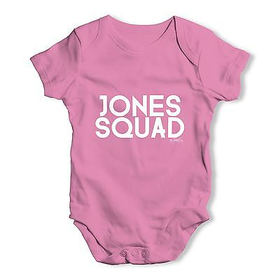 Twisted Envy Personalised Surname Squad Baby Unisex Funny Baby Grow Bodysuit