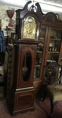 Inlaid Mahogany Chiming Long Case Clock c1920 In Good Condition & Working Order
