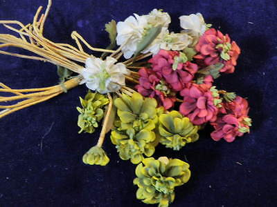 """Vintage Millinery Flower Collection 2"""" Ecru Red Green Zinnias For Hat Hair H1325"""
