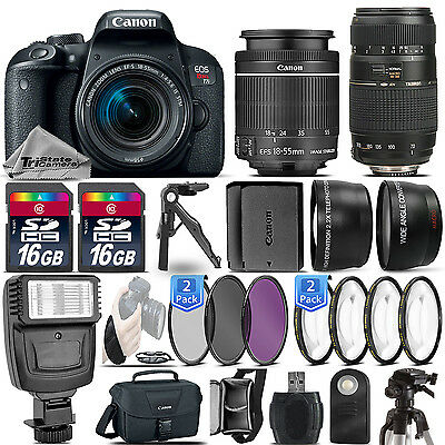 Canon EOS Rebel T7i DSLR Camera + 18-55mm STM + 70-300mm + EXT BATT - 32GB Kit