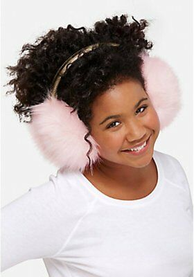 Justice Girl's Pink & Gold Faux Fur Puff Earmuffs NWT