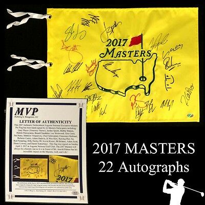 2017 Masters Field Signed Augusta National Golf Pin Flag  Jordan Spieth +21 More