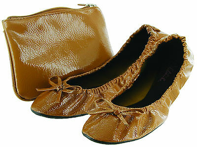 f5e30af19 SIDEKICKS FOLDABLE FLATS with Carrying Case, Womens, Patent, Tan ...