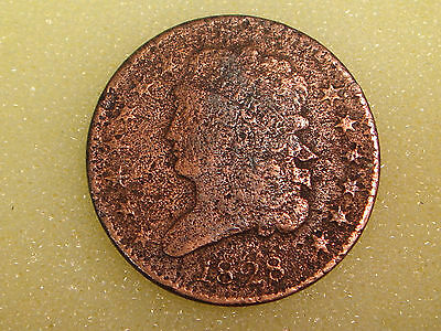 1828 Classic Head Half Cent 13 stars F details - rough & cleaned