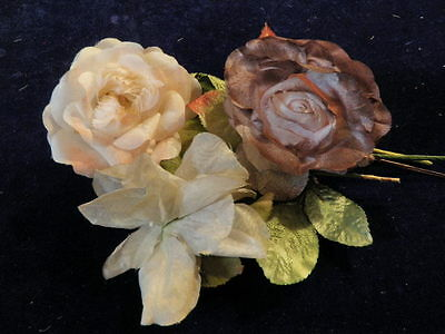 "Vintage Millinery Flower Collection 3 1/2""- 4"" Ecru Brown Pink Rose H1347"