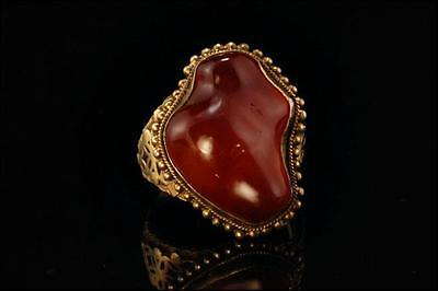 Antique Chinese Carnelian Gilded Silver Filigree Adjustable Ring