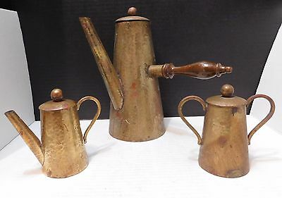 Hammered COBRE Y LATON Mexican Copper COFFEE Hot Chocolate Pot TEA Set  SIGNED
