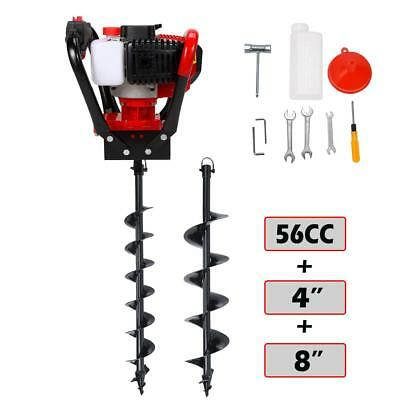 "2.3HP Gas Powered Post Hole Digger 52CC One Man Engine Kit w/ 6"" & 10"" Auger Bit"