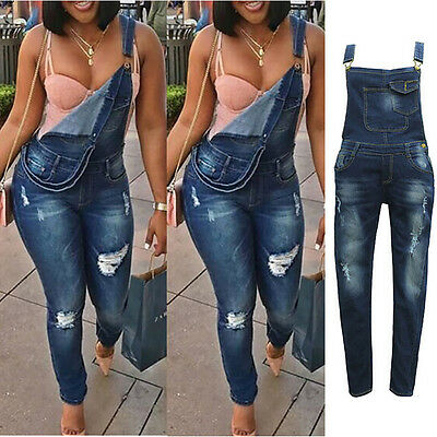 Women's Denims Pants Jumpsuits Romper Ripped Jeans Suspender Trousers
