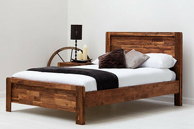 Modern Solid Wooden Panel Bed Frame Rustic Handmade Double / King Size