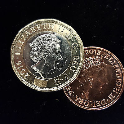 NEW STYLE POUND COIN UNIQUE MAGIC TRICK £1 - 1p VANISHING PENNY