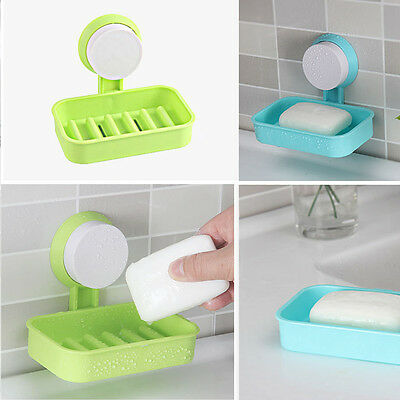 1pc Plastic Bathroom Shower Strong Suction Cup Soap Dish Tray Wall Holder HT